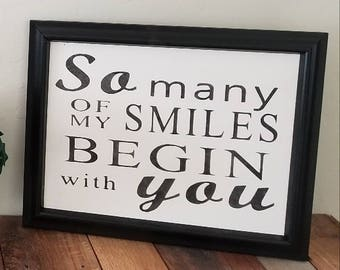 """Stencil """"So many of my SMILES BEGIN with you"""""""