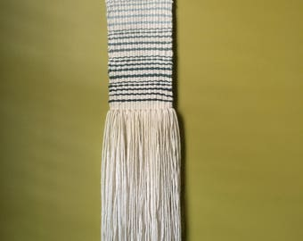 Handwoven / 5 by 5 stripes / Wall Hanging / teal blues greens / free shipping