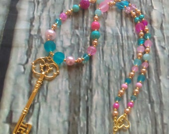 Gold Key Pendant Necklace - spring fashion, summer fashion, made in canada, women's necklace, teen necklace, fashion jewelry beaded necklace