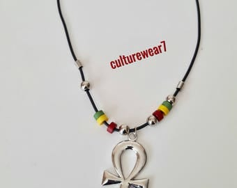 Rasta 6 Bead Necklace with Ankh Pendant