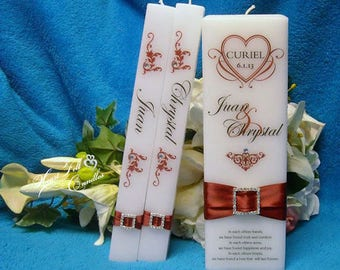 Ceremony Candle Set - Scroll Heart Unity Candle Set - Personalized Candles - Unique Unity Candles