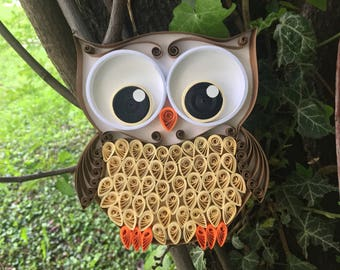 Quilling Art Fluffy Owl with Brown Color