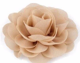 2 Beige Rose Flower Baby Girl Hair Clips 1 Pair