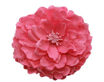 2 Hot Pink Big Lace Flower Hair Clips Brooches 10cm