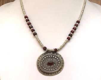 Afghan vintage pendant necklace, tribal pendant, tribal jewelry, antique silver locket, afghan jewellery, gypsy pendant, boho pendant