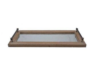 Decorative Wood and Metal Tray