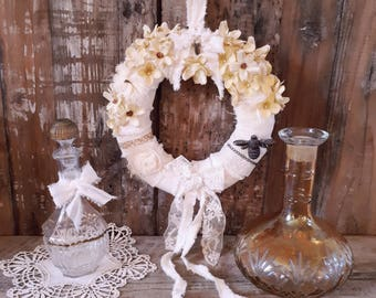 deco shabby, flowers, romantic Crown Crown, wall décor, shabby chic wreath, yellow Crown