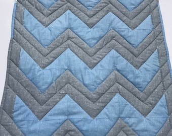 Baby quilt, baby blanket, handmade quilt, cot quilt, baby shower, christening, birthday, blue, grey, fleece, free shipping