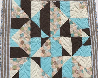 baby quilt, baby blanket, handmade quilt, cot quilt, baby shower, christening, birthday, blue, brown, cream, peach, free shipping