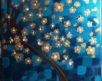 Abstract Cherry Blossom Tree on Canvas