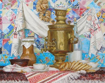 Samovar, bagels, a rug, cups, old!