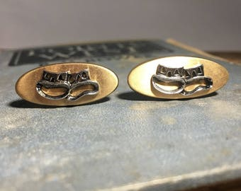 Vintage Comedy/Tragedy Gold-tone Cuff Links