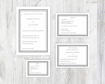 Classic Typewriter Style Printable Wedding Invitation