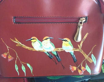 Small handbag with hand painted Birds on a branch