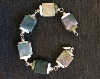Jade and agate link bracelet