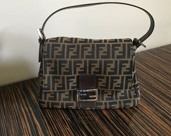 Authentic Fendi Brown Mama Zucca Flap Canvas Bag