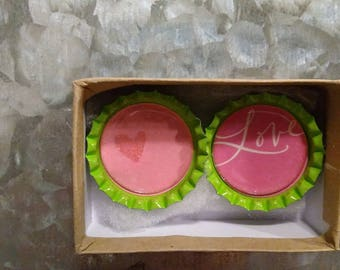 2 Pink Love Magnets
