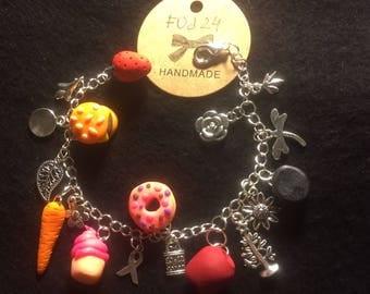 Charm Food Doughnut Bracelet, 100% hand made unique piece, best gift!