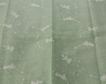 Tennis Players Sheer Fabric, Misty Green, Vintage Fabric #1063