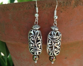 Bronze pearl and silver earrings