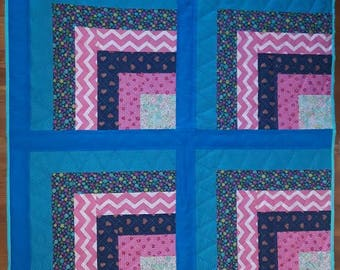 Modern Pink and Blue Baby Quilt