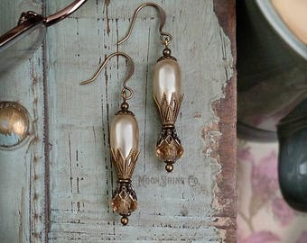 Glass Pearl and Crystal Drop Earrings