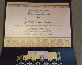 Set of 50 Yellow and Grey Pocketfold Wedding Invitation