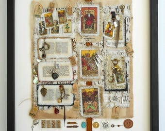 Love Is. Original art work. Framed, hand stitched, collaged textile.