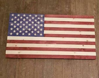 Hand Crafted Rustic Wooden American Flag - Red, White and Blue Wood Wall Art Mancave Decoration