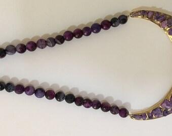 Amethyst necklace with Druzy stones