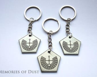 10x Burning Man sacred geometry playa gift pentagon keyring