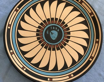 Native American Aadam Large Plate Bear Claw Signed