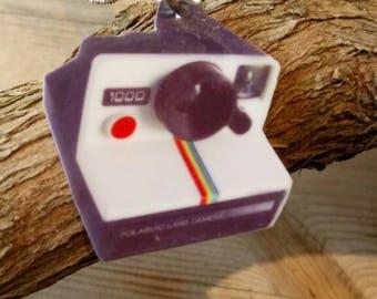 SALE! Lazer cut retro Polaroid camera 2D vinyl charm necklace