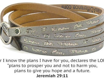Leather Christian Scripture Wrap Around Bracelet - Peaceful Gray Jeremiah 29:11 Bible Verse For I Know the Plans I Have For You