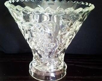 Vintage Clear Pressed Glass Vase - Flared Top - Centrepiece - Cut Glass - Grape Vine Design -