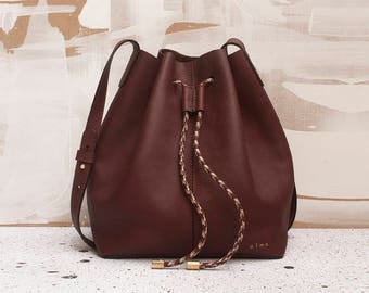 Brown Leather Bucket Bag with Drawstring, Brown Leather Bag. Shoulder Bag, Cross Body Bag, Minimalist Leather Bag, Medium Brown Bag, Olmo