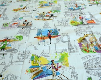 City Life  Cotton Fabric by the yard,  100% Cotton Fabric Fat Quarter, Clothing Fabric, Bedding Fabric, Home Decor Fabric  ,