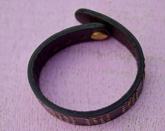 Leather and Brass Bracelet i