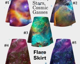 Stars, Cosmic Gasses, Nebula, Flare Skirt, Skirt, Fashion, Women's Fashion, Trendy Skirt, Orion Nebula, Boho Skirt, Galaxy Skirt, Cosmic