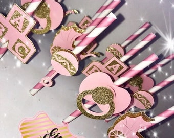 Baby shower cake pop straws