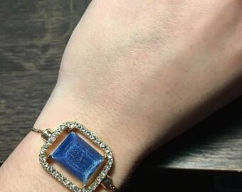 Adjustable blue stone bracelet