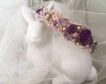 Purple Tracery Flower Headband