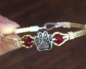 Dog paw and maroon bead wire bracelet silver and gold wires msu mississippi state
