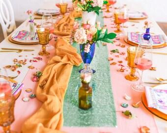 Gauze Table Runner | gold table runner  | wedding linens | wedding tablecloth | gauze runner | mustard yellow wedding