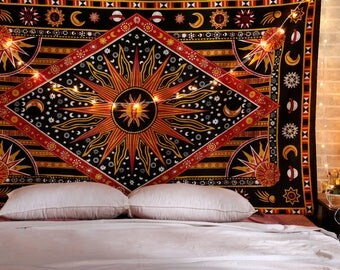 Astronomy Sun Moon Stars Psychedelic Bohemian Mandala Tapestry