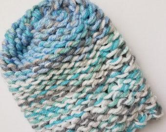 Gray, Blue & White Mitten Washcloth
