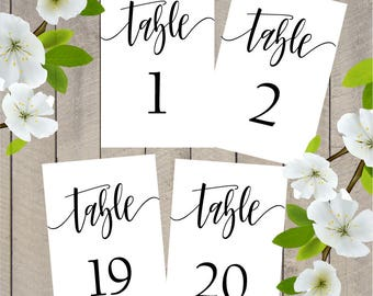 Printable Wedding Table Numbers 1 - 20 | Wedding Table Number|  Instant Download | Printable Table Numbers | Events | Banquet | Table Decor
