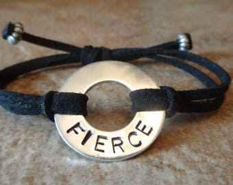 High-quality washer word bracelet - FIERCE - hand-stamped, adjustable, durable faux suede wristband. Warranty. We guarantee durability!