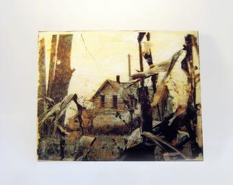 The Old Farmhouse - Original Wood Art