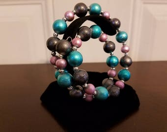 Pink, Teal, & Silver Wrap Bracelet, Glass beads, Nickel-free Memory Wire